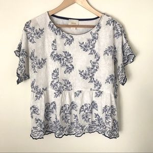 Anthropologie Embroidered Blouse Size M